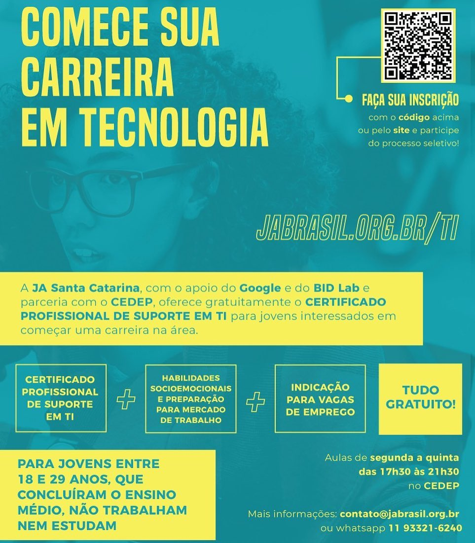 JA Santa Catarina oferece certificado profissional de suporte em TI